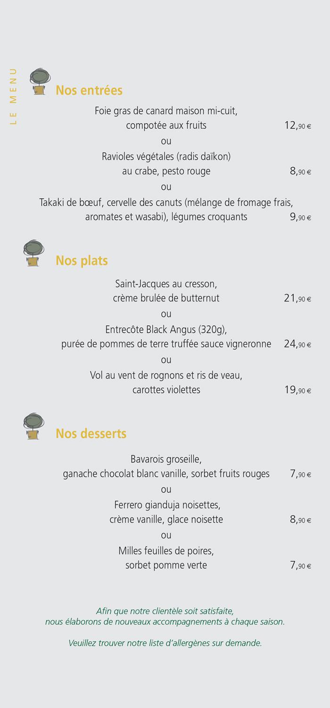 restaurant poitiers menu